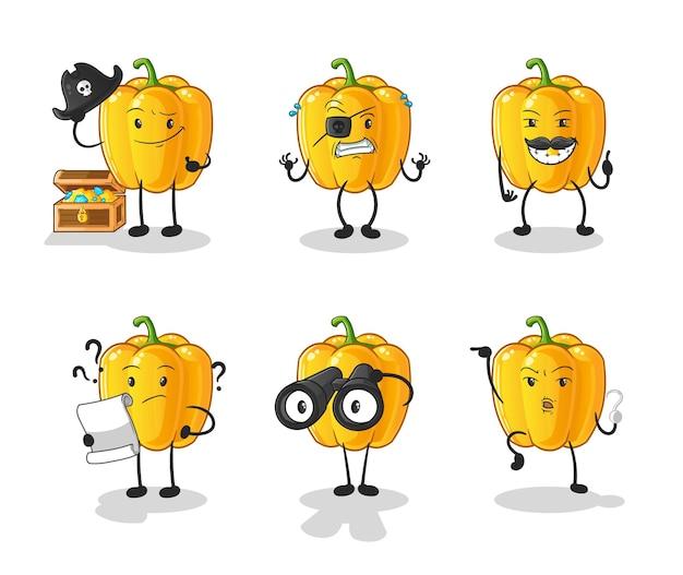 Personnage de groupe pirate de poivron jaune. mascotte de dessin animé