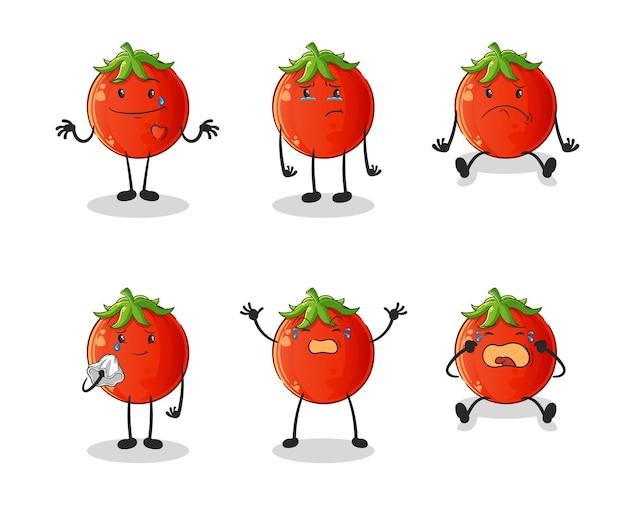 Personnage de groupe triste tomate. mascotte de dessin animé