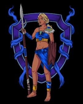 Personnage de guerrier femme africaine tribu bleue