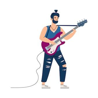 Personnage de guitariste rock jouant sur scène illustration vectorielle de dessin animé plat