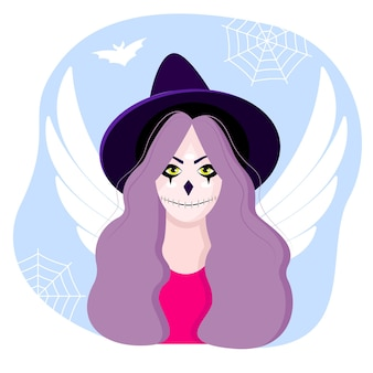 Personnage d'halloween. bloody mary. une fille avec une bouche et des ailes cousues. superbes personnages de belles filles. fille d'halloween. illustration vectorielle