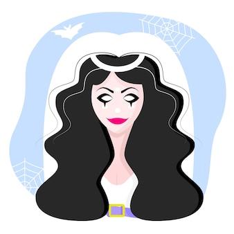 Personnage d'halloween. bloody mary. une fille avec une bouche et des ailes cousues. superbes personnages de belles filles. illustration vectorielle