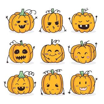 Personnage d'halloween citrouille doodle mignon