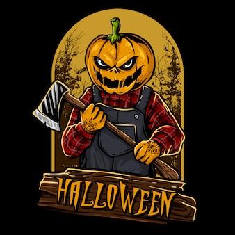 Personnage halloween tête de citrouille