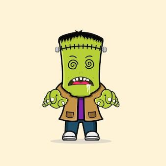 Personnage d'halloween zombie frankenstein mignon vecteur gratuit