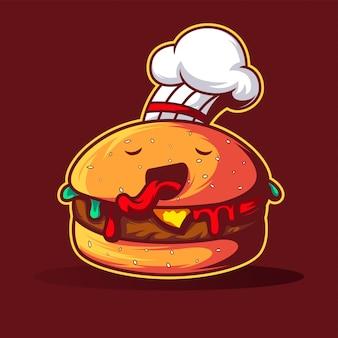 Personnage hamburger chef et personnage de bande dessinée