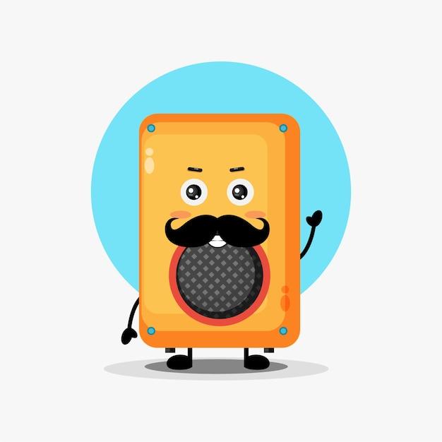 Personnage de haut-parleur mignon avec moustache