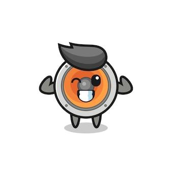 Le personnage de haut-parleur musclé pose en montrant ses muscles, un design de style mignon pour un t-shirt, un autocollant, un élément de logo