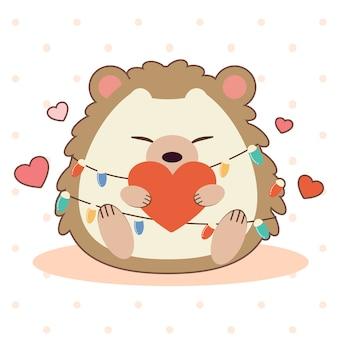 Le personnage de hérisson mignon assis sur le sol et tenant un coeur.