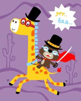 Personnage de héros avec dessin animé drôle d'animaux