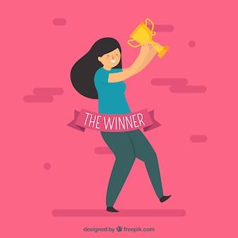 Personnage heureux gagnant un prix avec un design plat