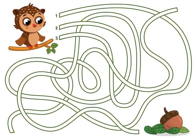 Personnage de hibou de dessin animé dans l'illustration vectorielle de jeu de labyrinthe