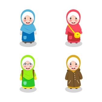 Personnage de hijab mignon sourire kawaii
