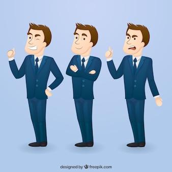 Personnage d'homme d'affaire avec trois expressions faciales