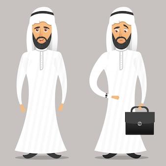 Personnage d'homme d'affaires arabe de dessin animé sur fond gris.