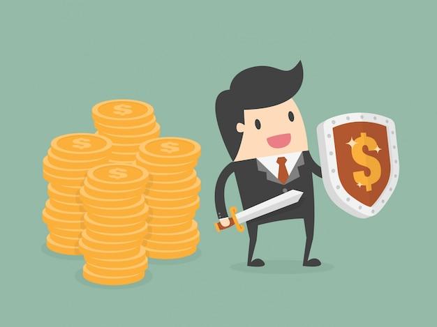 Personnage d'homme d'affaires avec de l'argent