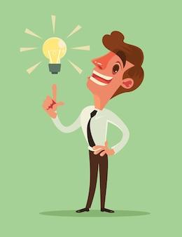 Le personnage d'homme d'affaires a une bonne idée. dessin animé