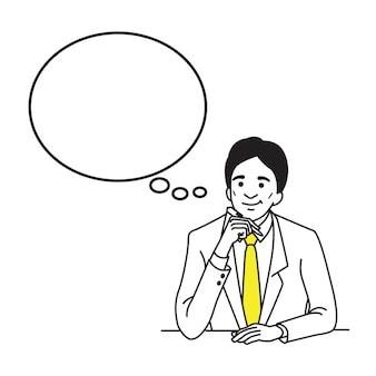 Personnage d'homme d'affaires tenant un stylo et de la pensée.