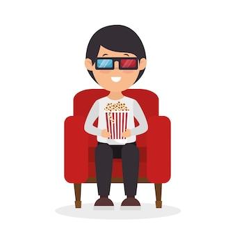 Personnage homme assis regarder film 3d avec pop corn