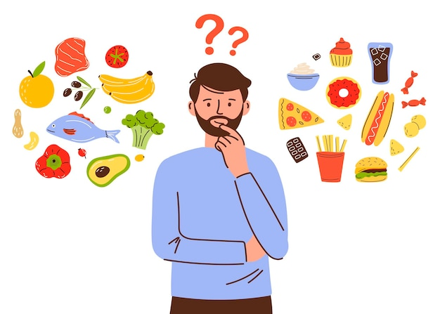 Le personnage de l'homme choisit entre des aliments sains et malsains comparaison de la restauration rapide et des menus équilibrés