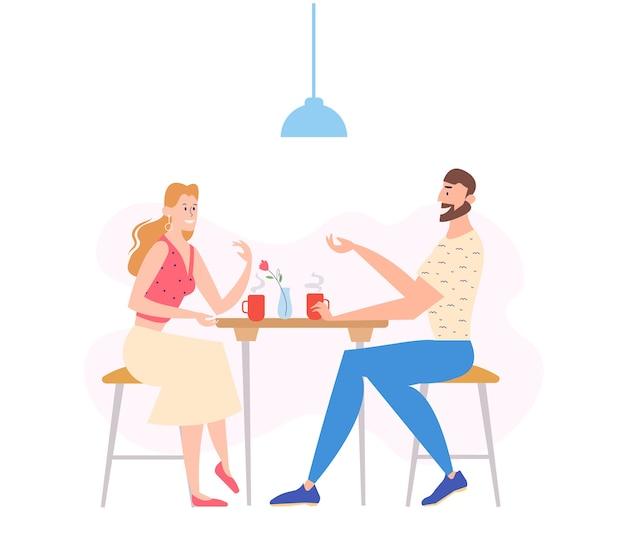 Personnage homme et femme, boire du café