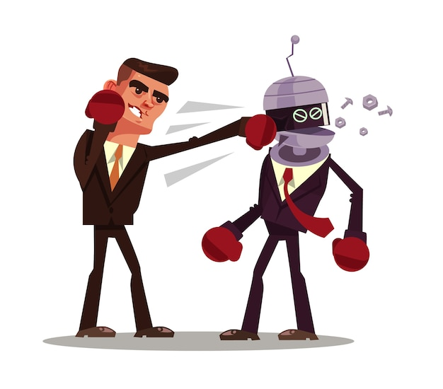 Le personnage de l'homme gagne le robot.