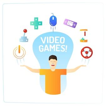 Un personnage d'homme avec des icônes de jeu vidéo doodle