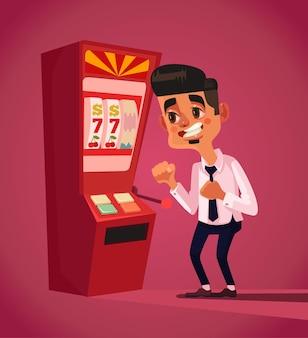 Personnage de l'homme joue dans l'illustration de dessin animé plat de machine à sous