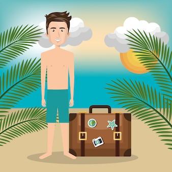 Personnage de l'homme sur la plage