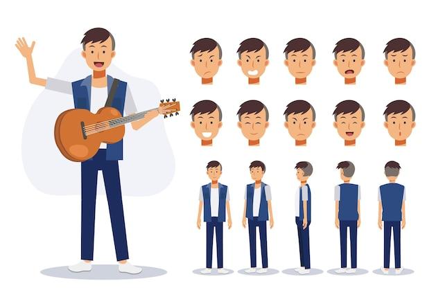 Le personnage d'un homme porte des vêtements décontractés avec une guitare acoustique dans diverses vues, illustration vectorielle plate de personnage de dessin animé 2d.