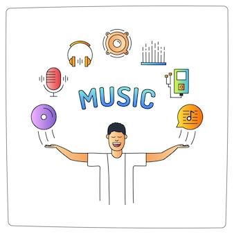 Un personnage d'homme avec ses mains et audio doodle icons