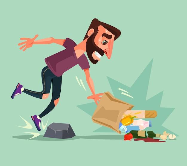 Le personnage de l'homme a trébuché sur une pierre et a laissé tomber un paquet de nourriture.
