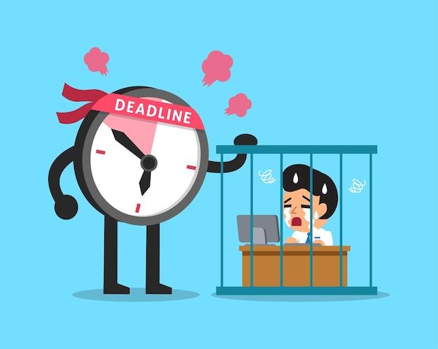 Personnage d'horloge de date limite de dessin animé avec homme d'affaires travaillant en prison