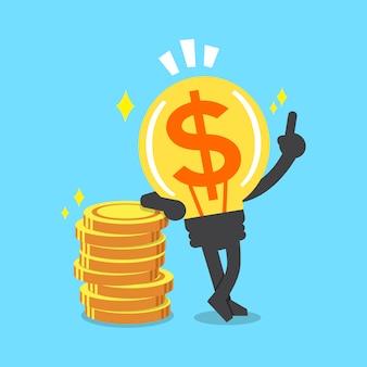 Personnage d'idée de grosse somme d'argent avec des pièces d'argent