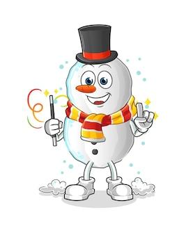 Personnage d'illustration magicien bonhomme de neige