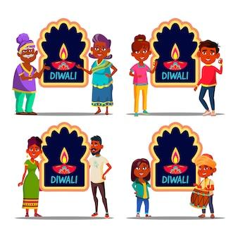 Personnage indien célébrant diwali set