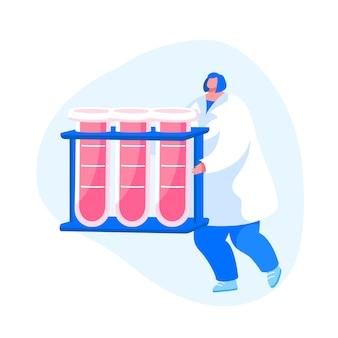 Personnage d'infirmière portant des tubes à essai avec lifeblood