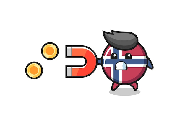 Le personnage de l'insigne du drapeau norvégien tient un aimant pour attraper les pièces d'or, design de style mignon pour t-shirt, autocollant, élément de logo