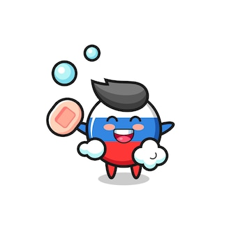Le personnage de l'insigne du drapeau de la russie se baigne tout en tenant du savon, un design de style mignon pour un t-shirt, un autocollant, un élément de logo
