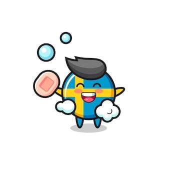 Le personnage de l'insigne du drapeau suédois se baigne tout en tenant du savon, un design de style mignon pour un t-shirt, un autocollant, un élément de logo