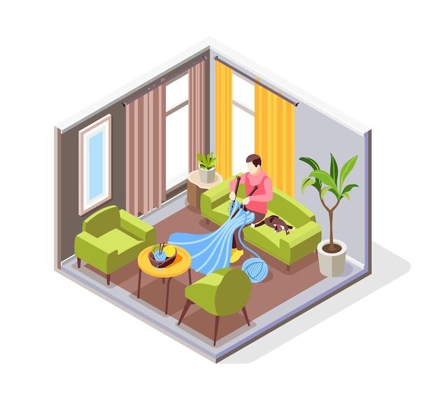 Personnage isométrique tricotant dans un salon confortable assis sur un canapé avec un chat 3d