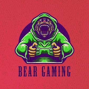 Personnage de jeu ours logo esport
