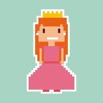 Personnage de jeu vidéo princesse pixélisé