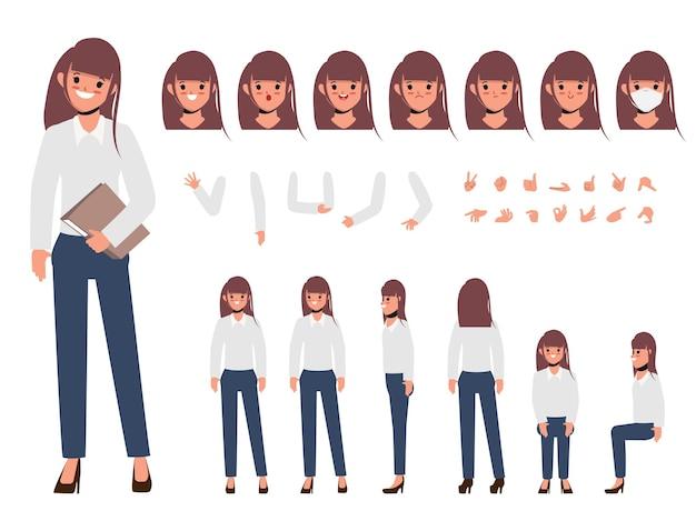 Personnage de jeune femme d'affaires pour les personnes de création animées avec des émotions face à la bouche d'animation