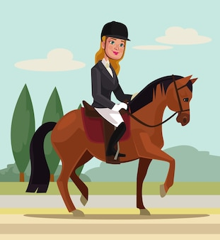Personnage de jeune femme à cheval illustration de dessin animé de sport professionnel