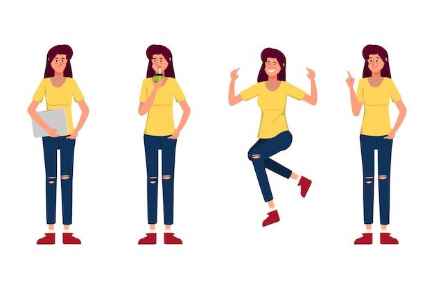 Personnage jeune femme création pose.