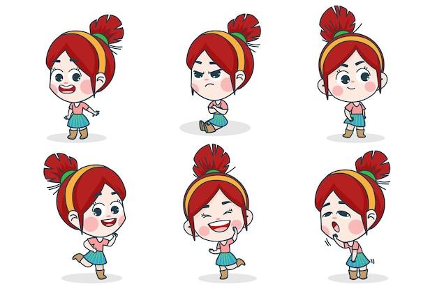 Personnage de jeune fille intelligente avec différentes expressions faciales et poses de main.