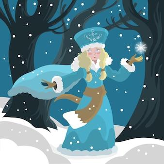 Personnage de jeune fille des neiges dessiné à la main