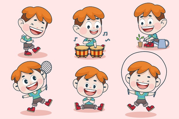 Personnage de jeune garçon intelligent avec différentes expressions faciales et poses de main.