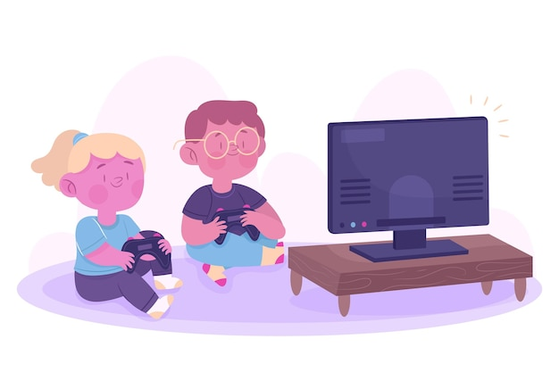 Personnage Jouant Au Jeu Vidéo Vecteur gratuit